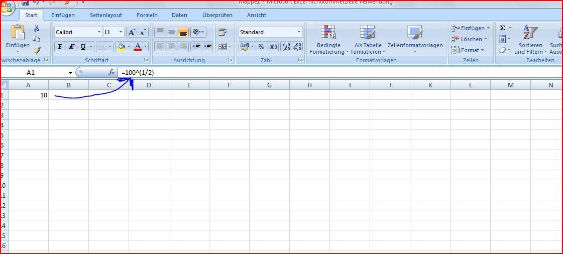 Wurzelziehen In Excel